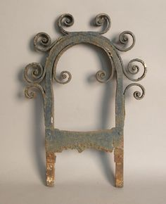 "Wrought iron boot scraper, 19th c., with scrolled crest, 20"" h."