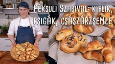 Péksuli Szabival: így készül a tökéletes kifli, zsemle és csiga! | Mindm... Bread Recipes, Cake Recipes, Croissant Bread, Hungarian Recipes, Bread Rolls, Baked Goods, Deserts, Food And Drink, Make It Yourself