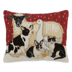 If you are a lover of all animals large and small, then this is the hooked wool pillow for you. Sheep Rug, Sturbridge Yankee, Rug Inspiration, Rug Hooking Patterns, Hand Hooked Rugs, Braided Rugs, Wool Pillows, Penny Rugs, Cool Rugs