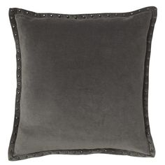"""darker gray. I like the studs on them which work with the studs in the chair. small repeating detail.  Studded Velvet Pillow Cover - Iron (20"""" Sq.) 