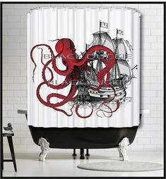 Red Octopus playing with Galleon Ship Shower Curtain - Kraken tentacles tall ship boat red shower curtains by MySillyPoni Tall Shower Curtains, Octopus Shower Curtains, Bathroom Shower Curtains, Kraken, Octopus Bathroom, Pirate Bathroom, Mermaid Shower Curtain, Red Octopus, Octopus Decor