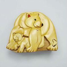 Handmade Art Intarsia Wooden Puzzle Box - Polar Bears