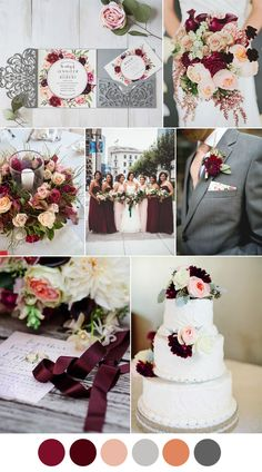 marsala, burgundy, blush fall wedding color inspiration