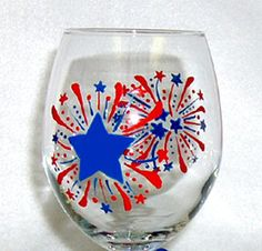 Fireworks Wine Glass Hand Painted by ConniesCreations2010 on Etsy, $10.00