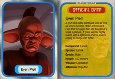 Even Piell was a long-lived Lannik Jedi Master who served on the Jedi High Council during the waning days of the Galactic Republic. A native of the war-torn planet Lannik, he was taken from poverty and trained as a Jedi Knight at a young age, proving to be a fierce warrior and talented Force-user. He became a Master and was given a long-term seat on the Jedi Council. Piell occasionally served with the Palace Guard of his species's prince and foiled an assassination attempt on the prince—at the c Star Wars Facts, Galactic Republic, Star Wars Love, Jedi Knight, Star Wars Wallpaper, Ahsoka Tano, Clone Trooper, Star Wars Clone Wars, Star Wars Episodes
