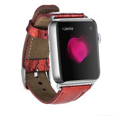 Burkley Exotic Genuine Salmon Leather Band for Apple Watch 38mm in Party Red
