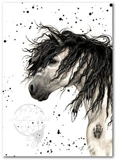 Majestic Horse Grey War Paint Native Feathers  Fine Art