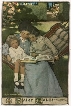 A mother reads to her children, depicted by Jessie Willcox Smith in a cover illustration of a volume of fairy tales written in the mid to late 19th century.