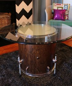 Drum Table. The cool factor alone is profound. The impact will double when you turn the lights on. That's right, this drum table lights up.  DIY Tutorial