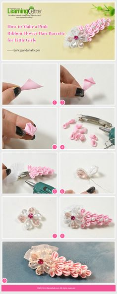 How to Make a Pink Ribbon Flower Hair Barrette for Little Girls from LC.Pandahall.com