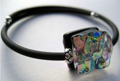 Dichroic Glass Memory Wire Bracelet