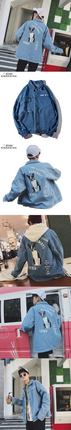Fashion Cotton Jean Casual Loose Coat Solid Doggy Print Jacket For Men Hip Hop Animal Denim Jean Clothes Cheap Jean Outerwear