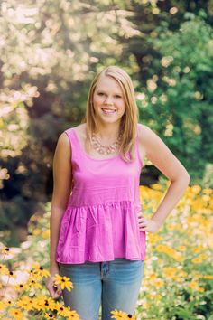 Asheville Senior Photographs|Senior in pink Botanical Gardens, Asheville NC at UNCA|High School Senior Pictures