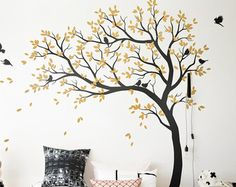 Huge tree wall decal with forest animals wall by KatieWallDesigns