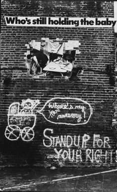 Panel from 'Who'se Holding the Baby?' exhibition, 1978 by the Hackney Flashers Collective, showing the use of photomontage and graffiti by the group. Jo Spence, A Level Exams, Documentary Photography, East London, Photography Women, Photomontage, 1990s, Art History, Britain