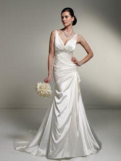 A-line Plunging V-neck Beaded Underbust Draped Bodice Satin Wedding Dress-wa0261, $244.95