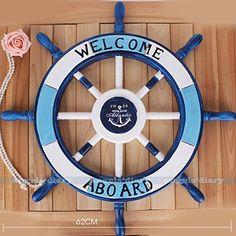 Bois Dense Nagina International D/écoration Murale en Bois de pin Motif Ancre Pirate 16 inches Bleu oc/éan Rustique