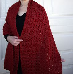 Looking for a red casual shawl to keep you warm? These soft and comfortable simple yet stylish shawls. They can be worn as scarves or accessorize your clothing. All crocheted with small picot edging on each end.  FREE SHIPPING in the U.S. Measures approximately 18 inches wide by 75 inches long...