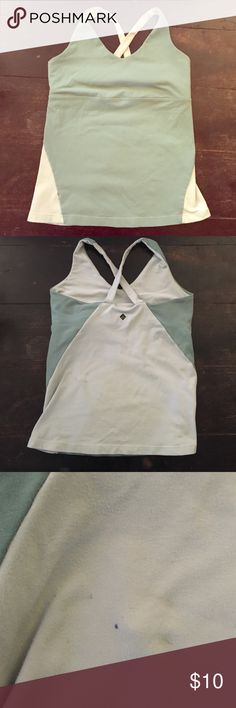 Prana workout top Cute mint workout top. Built in bra. Small spot on back not noticeable when on. Size small Prana Tops Tank Tops