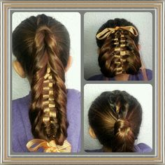 Dutch fishtail braid with ribbon into an updo