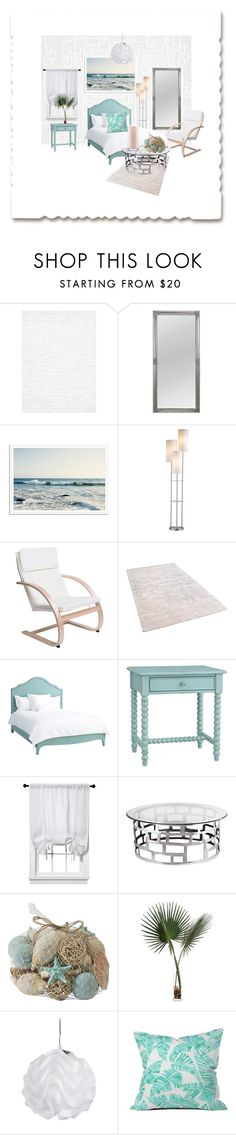 """""""Tropical Fever: Bedroom"""" by cal-artist ❤ liked on Polyvore featuring interior, interiors, interior design, home, home decor, interior decorating, BD Fine Wallcoverings, Redford House, Room Essentials and ELK Lighting"""