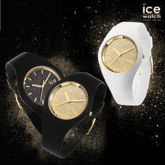Damen-Uhr ICE Glitter von Ice-Watch mit Glitzer und  schmalem Silikon-Armband
