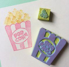 POPCORN SetHand Carved Rubber Stamp  by KeiWorkshop