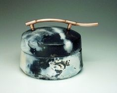 Saggar fired box with copper handle
