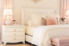 Bedroom Decor Ideas: A Romantic Master Bedroom Makeover bedroom Makeover, white linen bedding, pink Romantic Master Bedroom, Master Bedroom Makeover, Stylish Bedroom, Master Bedrooms, Dream Bedroom, Romantic Bedrooms, Romantic Room, Bedroom Bed, White Bedroom