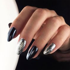 27 Black Glitter Nails Designs That Are More Glam Than Goth ★ Pretty Black Nail Designs for Any Occasion Picture 1 ★ See more: http://glaminati.com/black-glitter-nails-designs/ #blackglitternails #blacknaildesigns