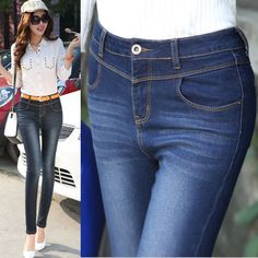 Find More   Information about New 2014 Arrival Free Shipping Big Size Fashion Denim Skinny Pencil Pants Blue Jeans Woman Skinny High Waist Long Trousers NZ014,High Quality  ,China   Suppliers, Cheap   from Minabell Fashion Store on Aliexpress.com