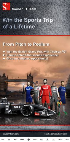 Win the sporting trip of a life time with #ChelseaFC and #SauberF1Team! Grand Prize ► Grandstand tickets, flights, accomodation! ► Chelsea FC stadium tour! ► Cobham training ground tour! ► Sauber F1 Team garage tour! Enter here ► http://che.lc/jFTer5 ◄ #F1 #FormulaOne #Formula1