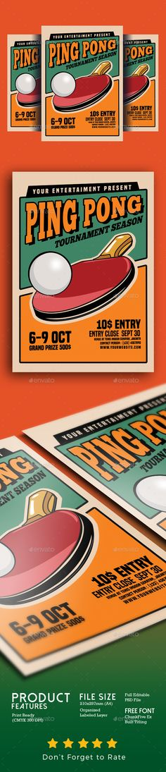 Ping Pong Tournament Flyer Template PSD