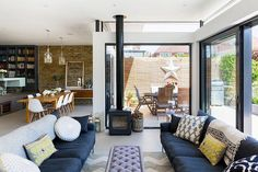 This is one of my favourite kitchen/diner/family rooms Broadgates Road, Wandsworth Refurbishment - Granit Architects Open Plan Kitchen Dining Living, Open Plan Kitchen Diner, Open Plan Living, Kitchen Layout, Design Kitchen, Kitchen Diner Lounge, Kitchen Colors, Kitchen Family Rooms, Living Room Kitchen