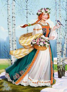 Russian pagan Godess of spring. Russian Folk Art, Ukrainian Art, 1 Gif, Sewing Art, Russian Fashion, Traditional Art, Art Pictures, Pagan, Photo Art