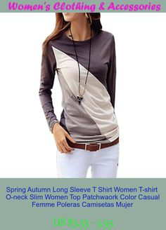 Spring Autumn Long Sleeve T Shirt Women T-shirt  O-neck Slim Women Top Patchwaork Color Casual Femme Poleras Camisetas Mujer