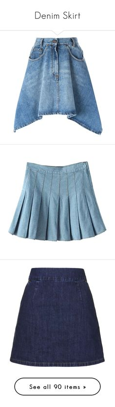 """Denim Skirt"" by schnpri ❤ liked on Polyvore featuring skirts, denim, saias, blue, button denim skirt, a-line skirt, a line denim skirt, button skirt, denim skirt et mini skirts"