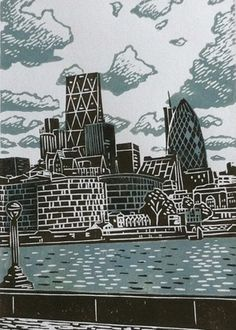 London-Skyline, Linoldruck, London-Linoprint, Linolschnitt, James Green Source by yelirnevets Green Landscape, Landscape Prints, Landscape Art, Landscape Architecture, Linocut Prints, Poster Prints, Skyline Von London, Lino Print Artists, Posca Art
