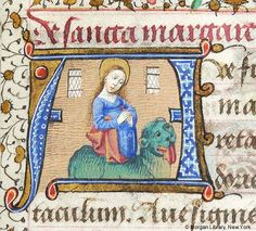 Margaret of Antioch emerging from the back of a dragon - Book of hours (MS G.1).  Loire River Valley, France, ca. 1475.  I really must read up on the story of Margaret of Antioch...