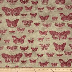 Tim Holtz Eclectic Elements Butterflight Red from @fabricdotcom  Designed by Tim Holtz, this cotton print fabric is perfect for quilting, apparel, crafts, and home decor items. Colors include red and cream on beige.