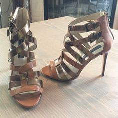 STEVEN by Steve Madden Heeled Sandals **NWOT** Never worn!! Cognac and copper strapped sandals with a gorgeous wood heel! Final Sale. Steven by Steve Madden Shoes Heels