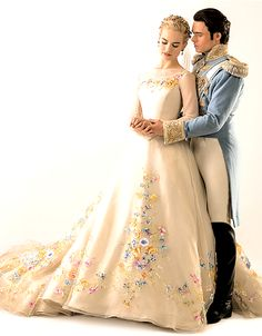 See Lily James In Cinderella's Wedding Dress Now!: Photo Lily James shows off the most beautiful and regal wedding dress for Cinderella. Costume designer Sandy Powell chatted with Vanity Fair about the to-be princess's… Cinderella Movie, Cinderella Wedding, Wedding Disney, Cinderella Live Action, Mode Hollywood, Hollywood Wedding, Robes Disney, Disney Dresses, Disney Wedding Dresses