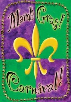 Mardi Gras Flag with Beads