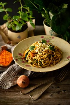 Squash Curry Spaghetti with Spinach and Feta Cheese