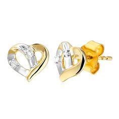 14karaat bicolor oorbellen hart met diamant