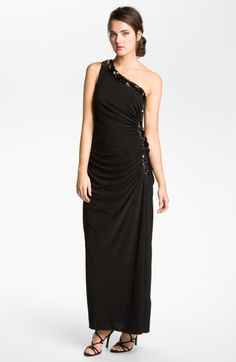 Betsy & adam Embellished Draped One Shoulder Jersey Gown in Black (black/ silver)