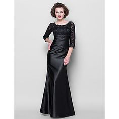 Lanting+Bride®+Trumpet+/+Mermaid+Plus+Size+/+Petite+Mother+of+the+Bride+Dress+-+See+Through+Floor-length+3/4+Length+SleeveLace+/+Stretch+–+USD+$+107.99