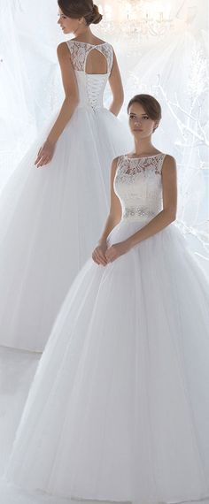 Marvelous Lace & Tulle Bateau Neckline Ball Gown Wedding Dresses with Beadings & Rhinestones