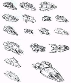 Delta Flyer concept sketches by Rick Sternbach Middle-top reminds me of a BSG raptor.