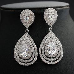 Wedding Earrings Bridal Jewelry Crystal Bridal by poetryjewelry